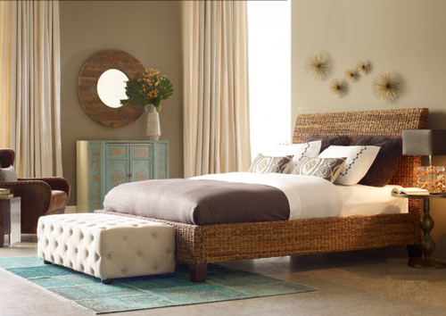 Lanai Banana Leaf Woven King Platform Bed Rattan King Size Beds Zin Home