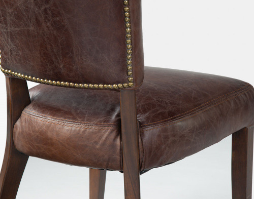 tan leather dining room chairs | Mimi Biker Tan Leather Dining Chair | Zin Home
