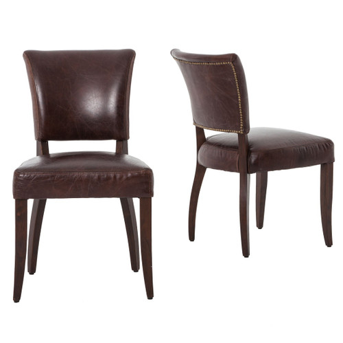 ... Leather Dining Chairs · Carnegie Mimi Dining Chair Biker Tan/Antique Oak