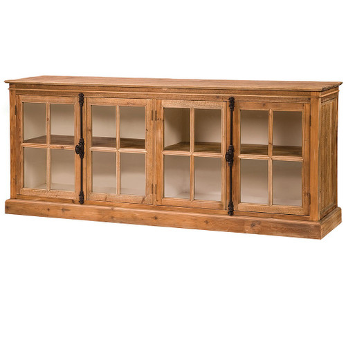 ... French Casement Monaco Reclaimed Wood Cabinet With Glass Doors