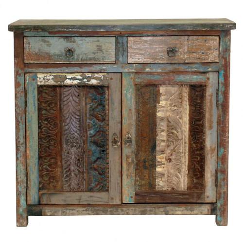 Vintage Wood Block Small Sideboard
