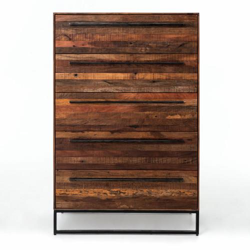 Emily Reclaimed Wood Tall 5 Drawer Dresser Zin Home