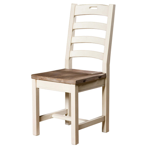 ... Cottage Ladder Back Dining Room Side Chair White In Solid Wood