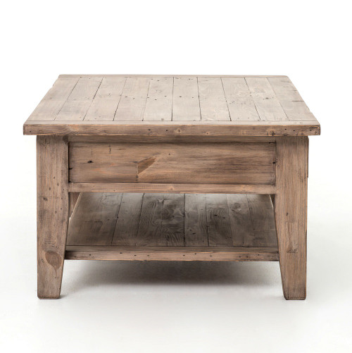 Coastal Solid Rustic Wood Coffee Table with Drawers. Coastal Solid Wood Rustic Coffee Table with Drawers   Zin Home