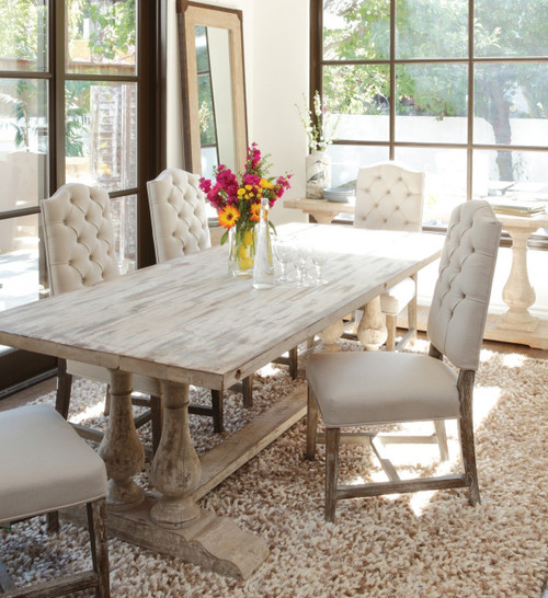 ... Ava Camelback Tufted Linen Dining Chair