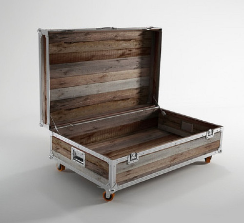 ... Modern Industrial Reclaimed Teak Wood Large Trunk Coffee Table With  Storage ...