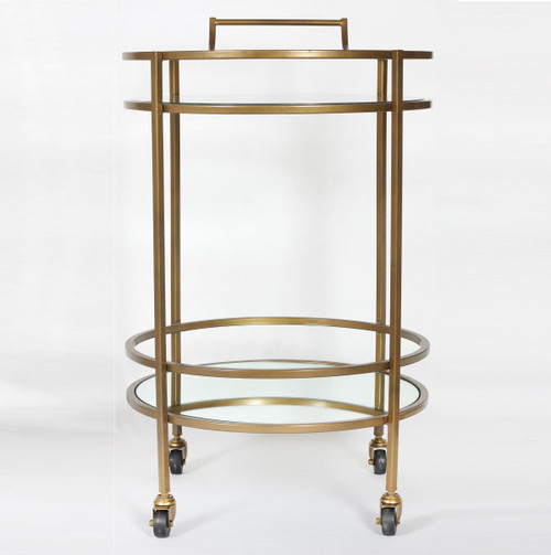 Petite antique brass and glass bar cart side table zin home for Petite table bar