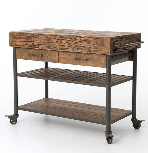 Free Standing Kitchen Island; Industrial Reclaimed Wood Kitchen Island Cart  Counter Table ...