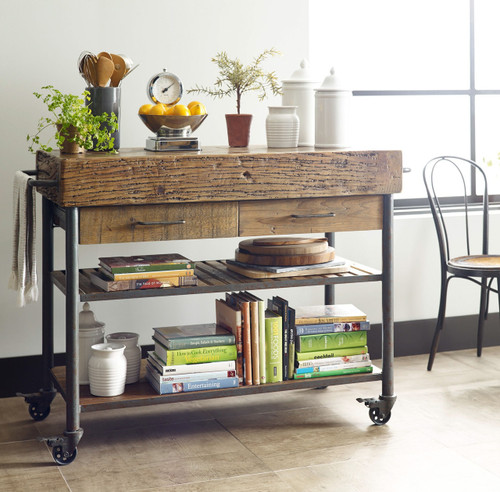 Industrial Rolling Kitchen Cart: Industrial Reclaimed Wood Rolling Kitchen Island Cart