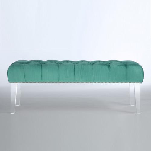 Techstyle Patchwork Upholstered Bedroom Bench Reviews: Stella Turquoise Velvet Upholstered Lucite Bench