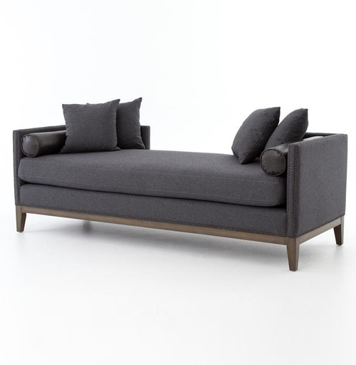 Kensington charcoal upholstered double chaise daybed zin for Chaise or daybed
