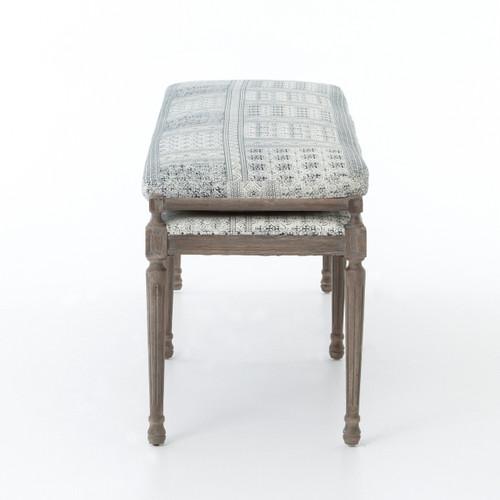 Lucille Batik Indigo Upholstered Bed End Bench | Zin Home