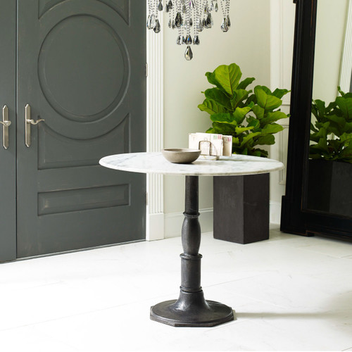 ... French Industrial White Marble Top Pedestal Round Bistro Table ...