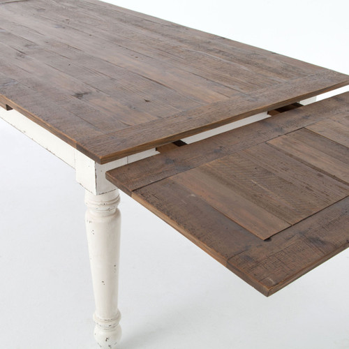 Cottage Reclaimed Wood White Expanding Dining Table 72-110 ...
