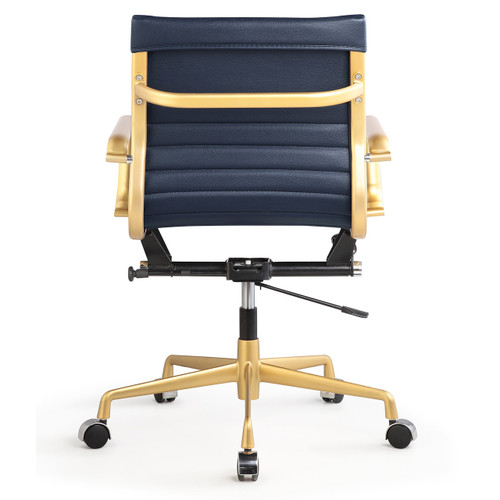 ... Gold + Navy Vegan Leather M348 Modern Office Chairs Sale