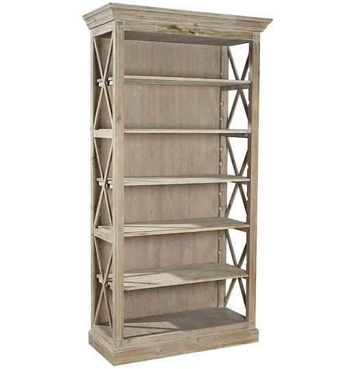 French Country Reclaimed Weathered Wood Open Bookcase
