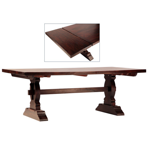 Cordoba dark wood trestle extension dining table 120 for 120 inch dining room table