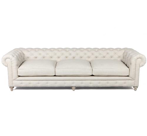 Finn Chesterfield Cigar Club Tufted Linen Upholstered Sofa - Tufted upholstered sofa
