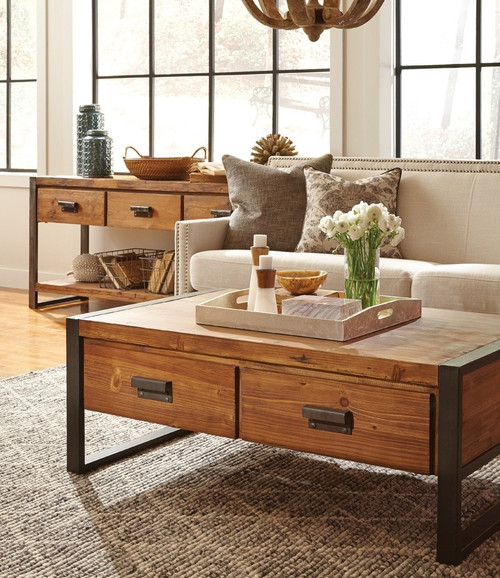 Industrial Themed Coffee Table: Rustic Industrial Coffee Table With Drawers