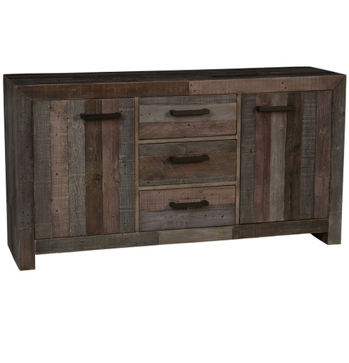Omni Angora Storm Reclaimed Wood 3 Drawer 2 Door Buffet Sideboard