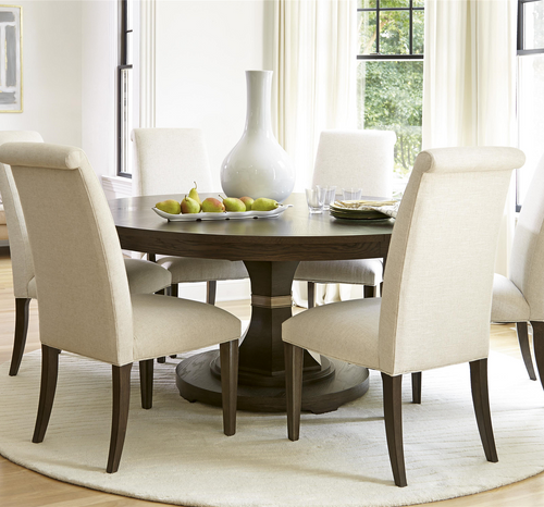 California Rustic Oak Expandable Round Dining Table 64\