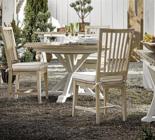 ... Coastal Beach White Oak Round Extension Dining Table ...