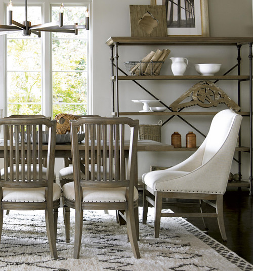 french oak nailhead upholstered dining arm chairs