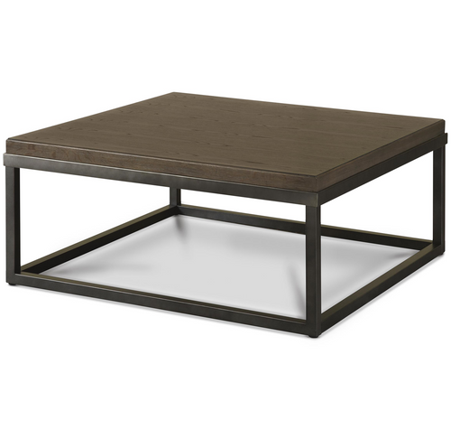... French Industrial Oak Wood + Metal Square Coffee Table ...