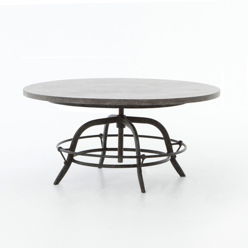 Table Round Industrial Coffee Table Gratifying Ballard: French Industrial Bluestone Top Round Crank Coffee Table