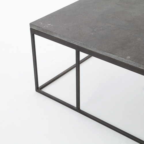 Deon Industrial Coffee Table: French Industrial Iron + Bluestone Top Coffee Table