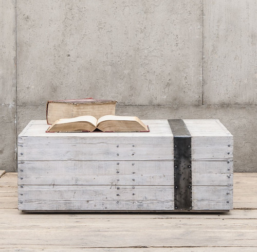 Reclaimed Concrete Blocks: Scaffolding White Washed Reclaimed Wood Block Coffee Table