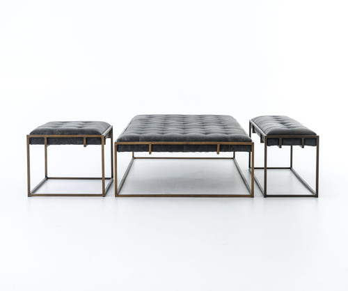 Oxford Tufted Black Leather Ottoman Coffee Table Zin Home