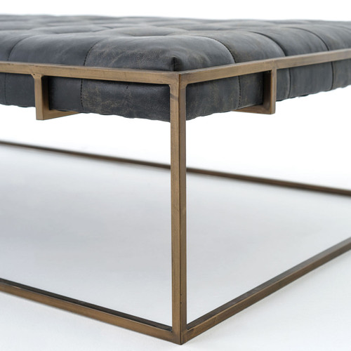 ... Oxford Library Tufted Black Leather Coffee Table Ottomans ...