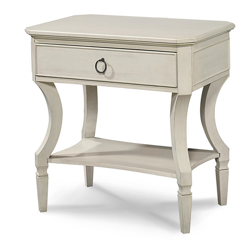 Country-Chic Maple Wood 1 Drawer Bedside Table - White