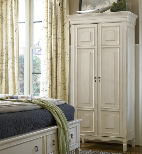 Country-Chic Maple Wood Tall Armoire Cabinet- White