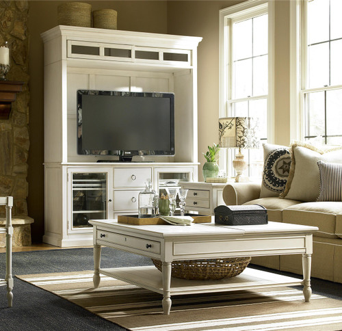 CountryChic White Wood Square Coffee Table with Lift Top Zin Home