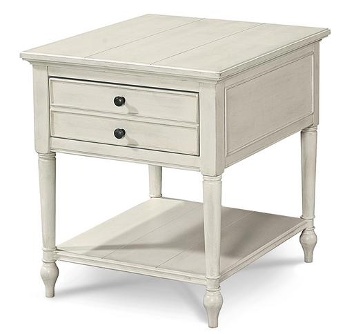 Country-Chic Maple Wood White 1 Drawer End Table