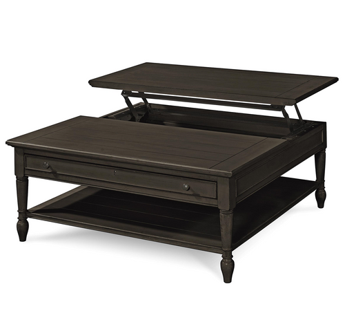 Country chic black wood square coffee table with lift top zin home Black lift top coffee tables