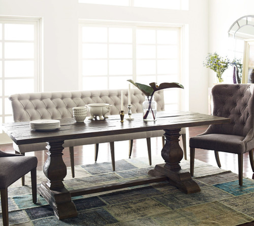 Amazing ... French Tufted White Dining Bench Banquette For Sale