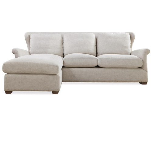 Haven Belgian Linen Upholstered Wingback chaise sofa sectional