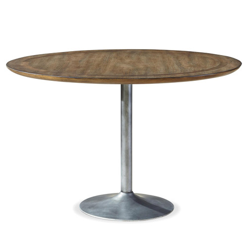 Industrial Round Dining Table: Maison Industrial Metal Pedestal Round Dining Table 48