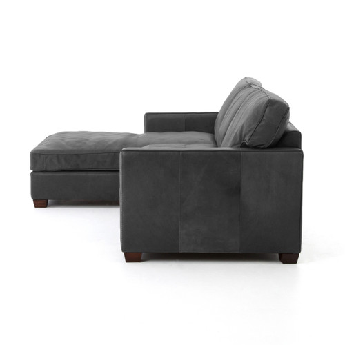 ... Larkin Vintage Black Distressed Leather Contemporary Sectional Sofas ...