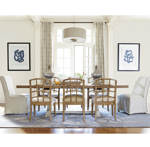 French Modern White 9 Piece Extension Dining Table Set