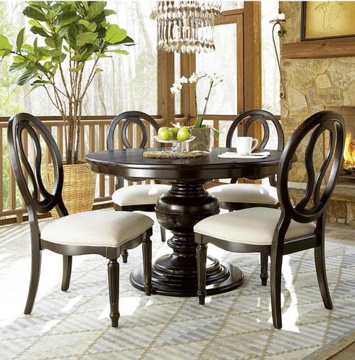 Country Dining Room Sets: Country-Chic 5 Piece Round White Dining Table Set