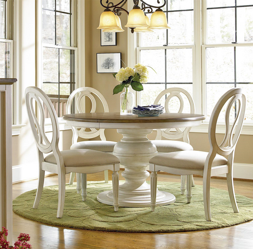 Country Kitchen Table And Chairs: Country-Chic 5 Piece Round White Dining Table Set