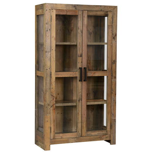 Angora natural reclaimed wood curio cabinet with glass