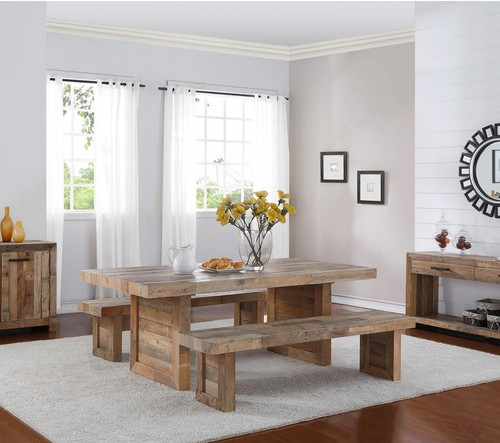 Angora Natural Reclaimed Wood Trestle Dining Table