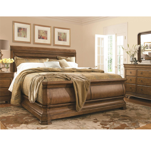 Louis Philippe Solid Wood King Sleigh Bed - Cognac | Zin Home