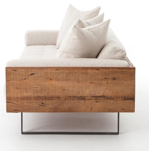 ... Ranger Industrial Loft Reclaimed Wood Frame Sofa   Natural Linen ...