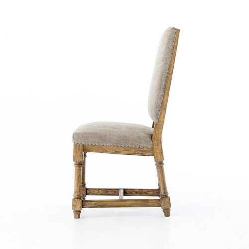 Upholstered High Back Dining Chair: Task Dark Gray Nailhead Wing Dining Chair